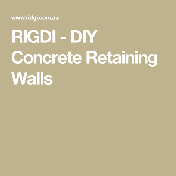 RIGDI - DIY Concrete Retaining Walls