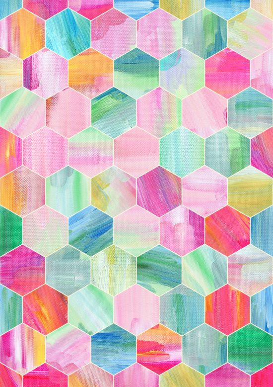 Pretty Pastel Hexagon Pattern in Oil Paint Art Print