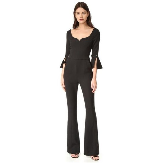 Prabal Gurung Sweetheart Neck Jumpsuit ($2,015) ❤ liked on Polyvore featuring jumpsuits, black, flared jumpsuit, jump suit, prabal gurung and sweetheart neckline jumpsuit