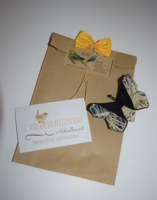 Pince papillon japonais noir gris doré - L'atelier du petit oiseau