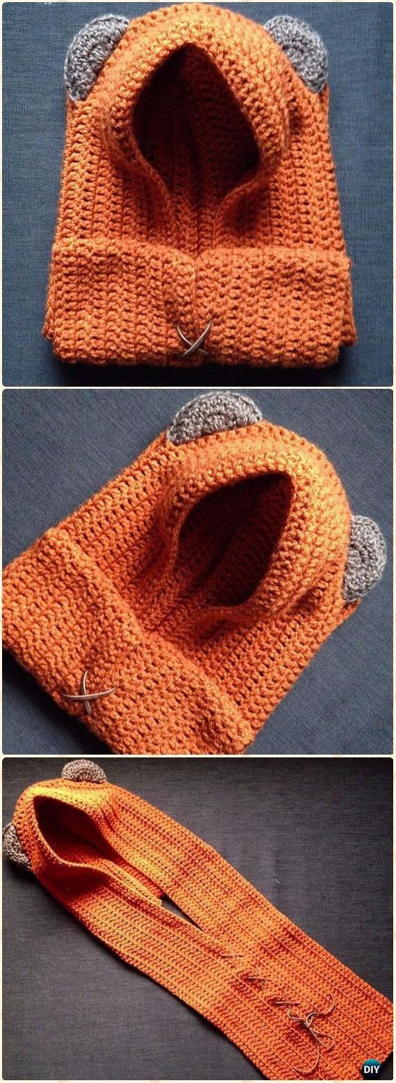 Crochet Yub Nub Scoodie Hat Free Pattern - Crochet Hoodie Scarf Free Patterns