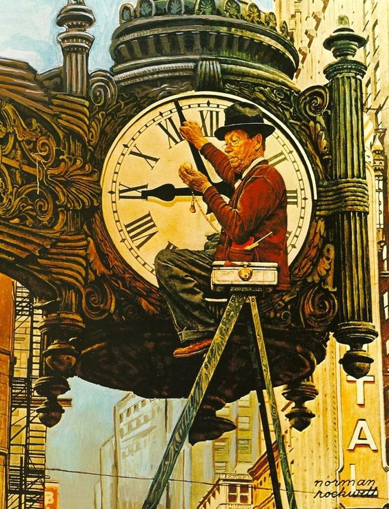 Image result for the correct time by norman rockwell
