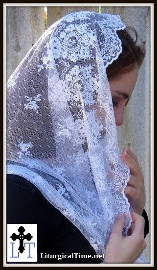 Infinity Veil EVM14w - Eternity Veil Headcovering - The Infinity Scarf Mantilla Veil Original, in Embroidered White Lace: