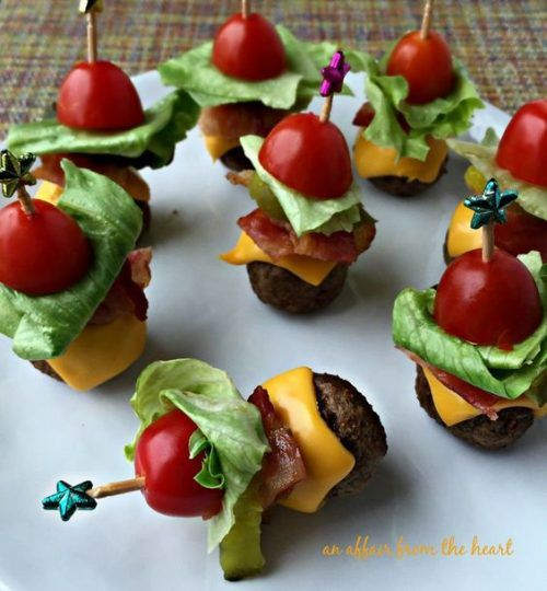 Bacon Cheeseburger Meatballs and Tailgating Recipes and Football Party Food Ideas for your stadium gathering on Frugal Coupon Living. Dessert Football Recipes. Appetizers for game day.