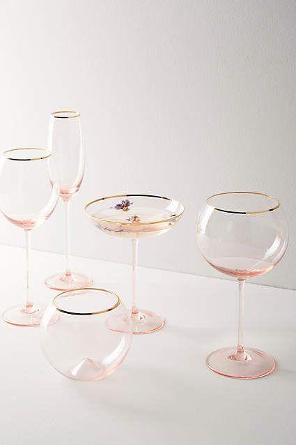 Blush Gilded Rim Red Wine Glass Blush Beauties Wine Glass Glass Set Wine Glasses