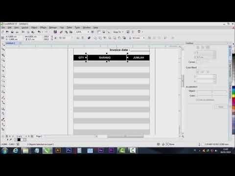 Tutorial Membuat Nota Ukuran Kertas Folio Di Bagi 4 Bagian Dengan Coreldraw X7 Youtube Ukuran Kertas Pengukur Desain