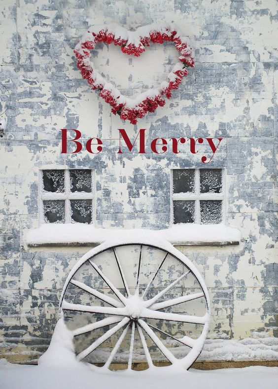 Be Merry Red Heart Wreath Christmas Greeting Card - Discount Greeting Cards
