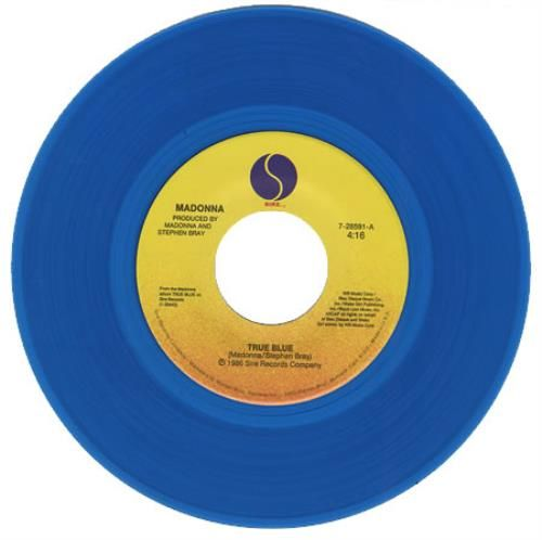 Madonna True Blue Blue Vinyl Sleeve Us 7 Vinyl Single 7 Inch Record 2505 Madonna True Blue Blue Vinyl Vinyl Sleeves