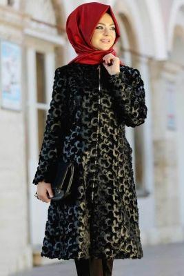 Pınar Şems Siyah Carmen Fermuarlı Kaban