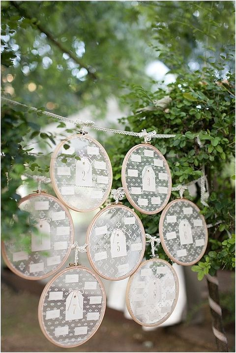 Even if you don't like embroidering, you can still take embroidery hoops and use them for cool wedding decor. Attach lace to them and hang...