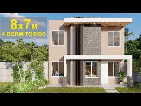 Plano De Casa 8 X 7 Con 4 Dormitorios Y 2 Pisos Youtube Planos De Casas Mediterraneas Planos De Casas Plano Casa 2 Pisos