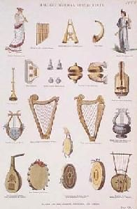 Ancient Greek Musical Instruments | 020musi: 1858 Ancient Musical Instruments. Nicely hand colored ...