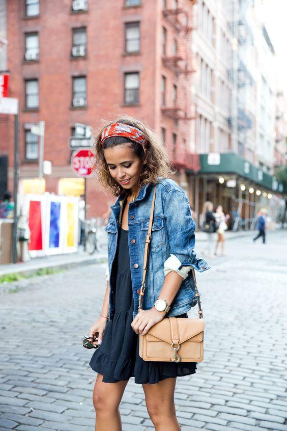 Jean jacket over dress – Modern fashion jacket photo blog