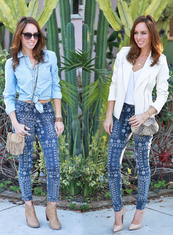 Sydne Style Old Navy How To Wear Printed Jeans Bandana Blues Festival Style Day To Night