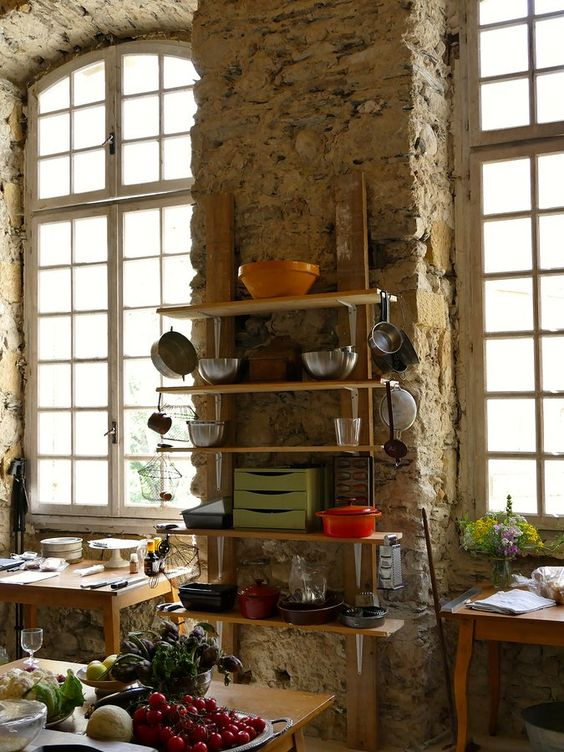 Stone kitchen in an 18th century French chateau. South of France Fixer Upper Château Gudanes. #southoffrance #frenchchateau #provence #frenchcountry #renovation