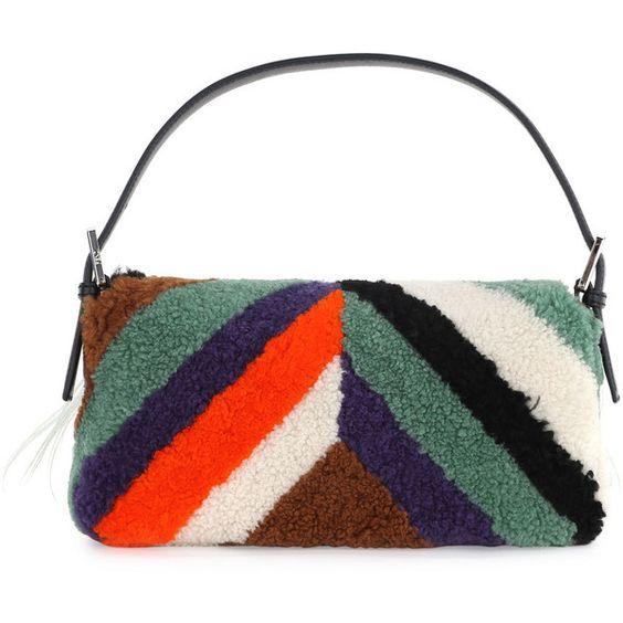 Fendi Baguette Monster Mixed-Fur Shoulder Bag (€7.620) ❤ liked on Polyvore featuring bags, handbags, shoulder bags, strap purse, flap handbags, fur purse, white purse and fur handbags