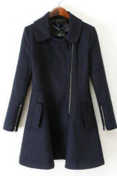 Navy Lapel Long Sleeve Oblique Zipper Woolen Coat