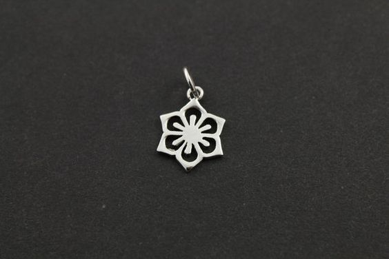 Sterling Silver CutOut Flower Charm / Pendant with by Beadspoint, $6.99