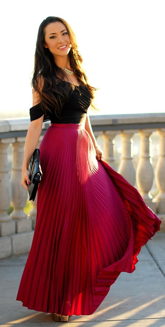 Red Maxi Skirt Outfit