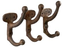 Set Of Three Vintage Cast Iron Coat Hooks - relique.com