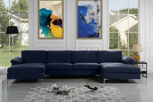 Modern Velvet Sectional Sofa With Double Chaise Extra Wide Modern Sofa Sectional U Shaped Sectional Sofa Velvet Sectional