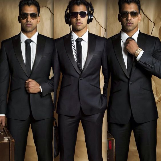 Men in black suit / office suit / bond style /cool / sameer