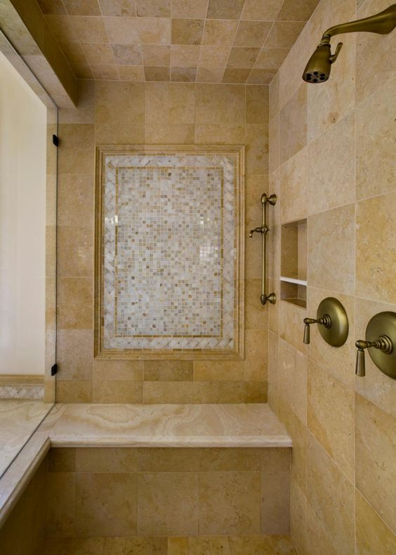 Neutral Tile Shower With Antique Gold Plumbing Shower Tile Neutral Tile Bathroom Shower Tile