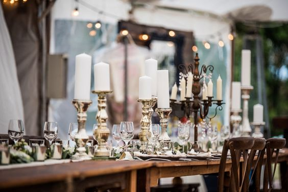 Candle center pieces for rustic chic outdoor wedding.