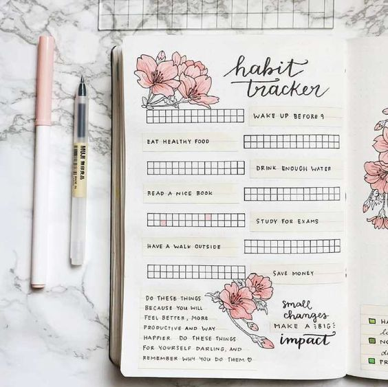 Bullet journal rose : habit tracker