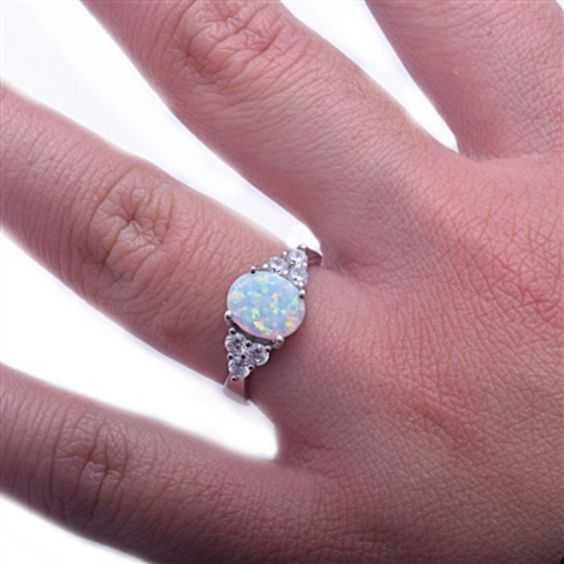 1.50 Carat Lab Oval White Opal Solid 925 Sterling Silver Ring Russian Iced Out Diamond CZ Solitaire Diamond Accent Wedding Engagement Ring