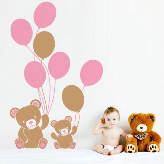 Orsetti con palloncini wall stickers cameretta bambini design ...