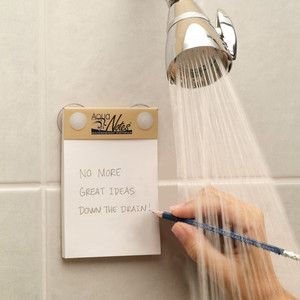 If you pick up and install one of our awesome Mirror Defoggers, you won't be writing notes to yourself on the mirror anymore, but you CAN use this awesome waterproof notepad in the shower for your thoughts, ramblings, and to do list items!    We're loving this product!
