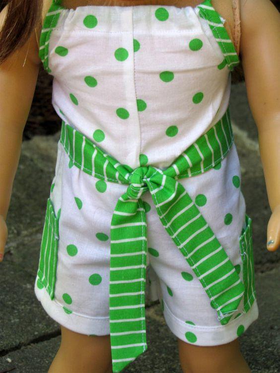 American Girl Doll Clothes Polka Dot Romper by AvannaGirl on Etsy