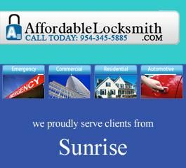 Looking for quality locksmith service Provider Company in Sunrise? then Affordable Locksmith can help you. We are a professional locksmith company in Sunrise, Florida who provides locksmith, locks re-keyed, duplicate key and lock installation services at affordable price. For more detail click this link: http://www.affordablelocksmith.com/locksmith-sunrise.htm or call at: 561-907-4884