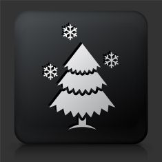 Black Square Button with Christmas Tree Icon vector art illustration
