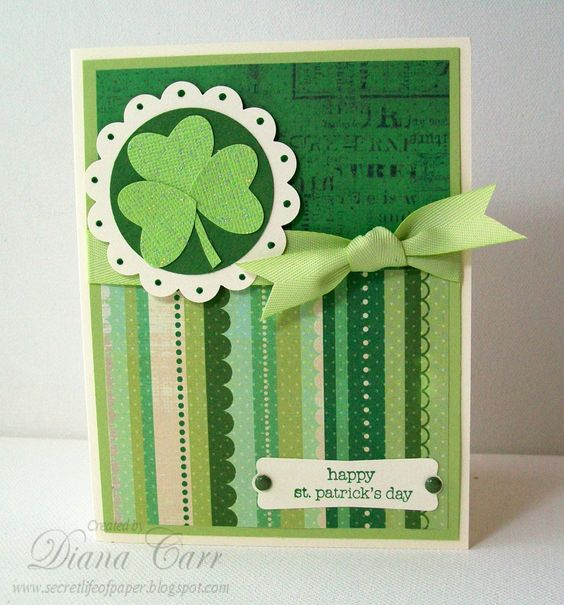 Handmade St. Patrick's Day Card - Handmade St. Patricks Day Card with Glitter Shamrock. $4.25, via Etsy.