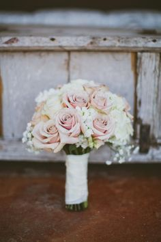my wedding bouquet! dusty pink roses, paper whites, and ivory hydrangeas