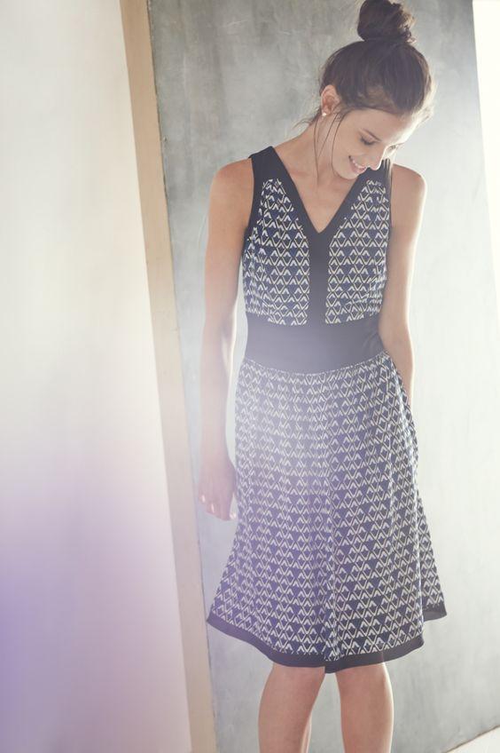 Black and blue print dress.