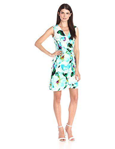 Calvin Klein Womens SL Wrap Dress Cerulean Multi Cksp Medium undefined undefined