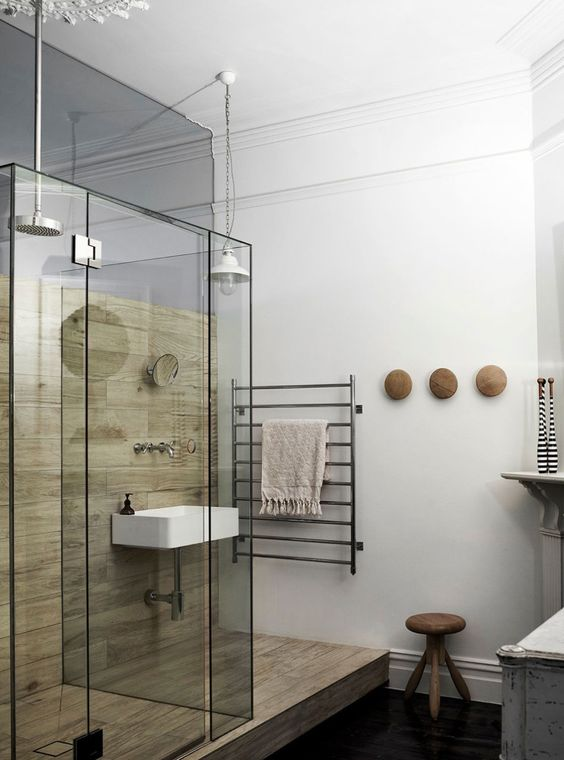 Interior, Mesmerizing Sleek Home Designs In Bathroom With White Interior Ceiling Featuring Wooden And Glass Shower Stool Pendant Lamp Towel Hanger Sink Wooden Chair: Cozy Sleek Home Designs with Monochromatic Color