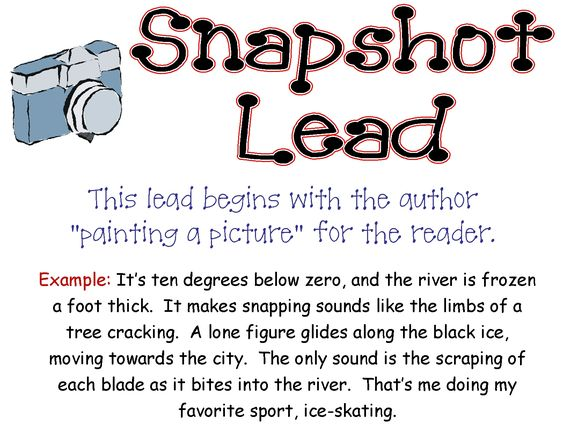 writing leads for essays The lead is one of the main building blocks of writing here are 7 types of leads, all of which will leave readers wanting more.
