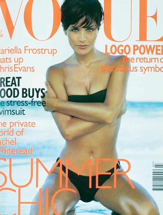 """Helena Christensen -July 1997  """"Status dressing is back and the brand name is undergoing a renaissance,"""" says Mark Holgate. The issue also features Chris Evans and one of Britain's most controvrersial artists, Rachel Whithead, and Alexandra Shulman pays tribute to Vogue journalist Lesley Cunliffe (1945-1997)."""