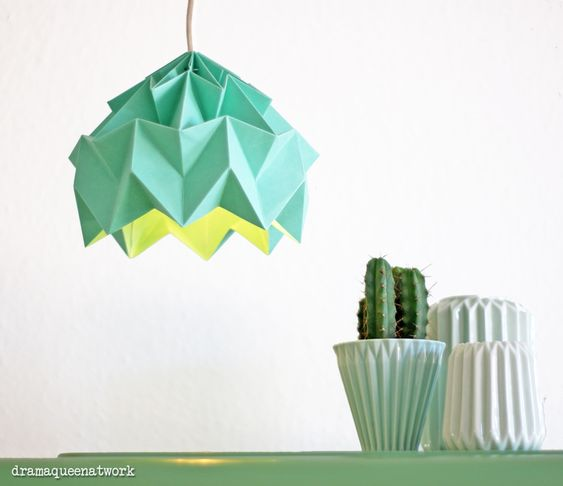 plissee origami Lampe grün dramaqueenatwork