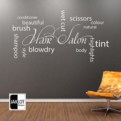 beauty salon window graphics  HAIR SALON Collage Wall Art Vinyl Sticker - Hairdressers Beauty Salon .