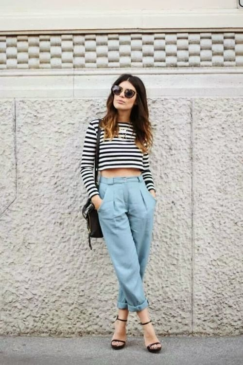 Gingerly Witty Stripes crop top