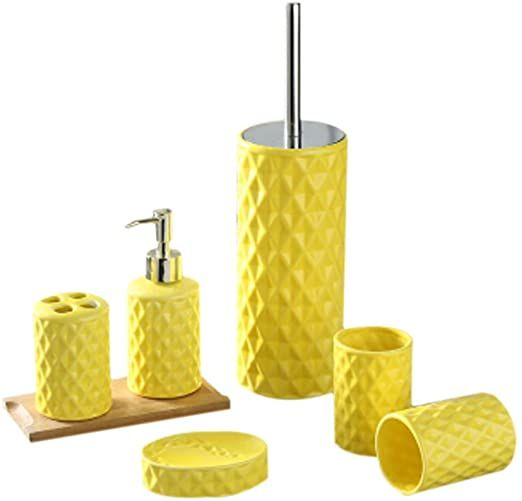Diamond Lattice Pattern Ceramic 5 Pieces Bathroom Accessories Set Includes Lotion Dispe Yellow Bathroom Accessories Bathroom Accessories Bathroom Accessory Set
