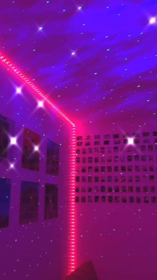 Led Lights And Star Effect In 2020 Neon Room Neon Bedroom Dreamy Room