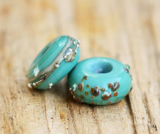 Large hole beads  Turquoise Green  handmade lampwork by MayaHoney, $10.00