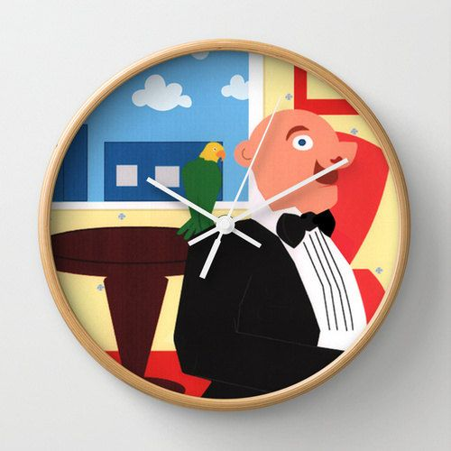 Designer Wall Clock Jake's Escape by Lindsey by MerelyEclectic, $45.00