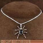 "Navajo Native American Silver and Onyx Spider Pendant with 18"" Italian Box Chain"